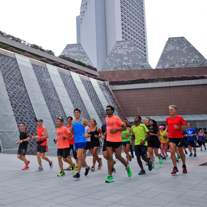 The #RunONE community doing an easy run led by Mok Ying Ren (National Marathoner) during the ST Race Clinic on 08 July. Photo credits: ONEATHLETE / STEVEN TEO