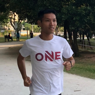 Evan during a training run in July 2018. Photo credits: ONEATHLETE / LIM SHU ZHEN